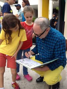 William Joyce adds a drawing to his autograph